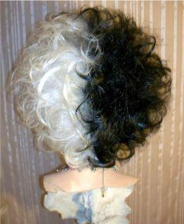 Drag Queen Wig Costume Cruella deVille Teased Out Half White Half