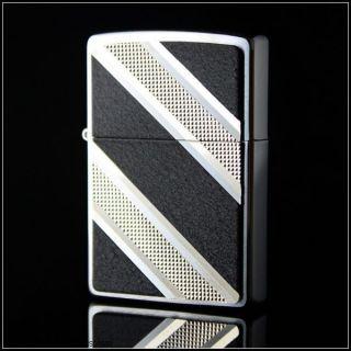 Zippo Black Diagonal Diamond Chrome Lighter 24872 Free Super Fast