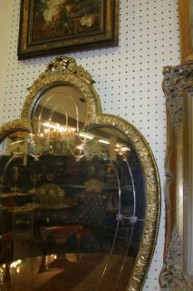 Art Deco Heart Shaped Spade Shaped Gilded Wood Carved Mirror