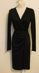 Diane Von Furstenberg Deepa Black Wool Jersey Wrap Dress 8 New DVF