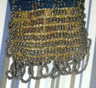 Orig Vtg Antique Victorian Civil War Steel Beaded Dress Purse