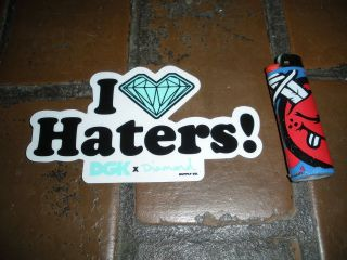 DGK SKATEBOARDS x DIAMOND SUPPLY CO I 3 HATERS SKATE STICKER LOVE