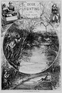 Deer Hunting on Long Island 1873 Antique Engraving Hunt