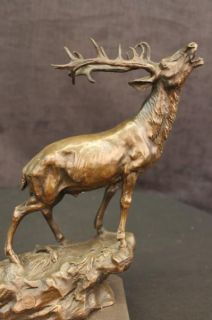 Elk Deer Stag Buck Ranch Hunting Lodge Art Sportsman Hunter Bronze