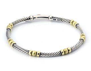 David Yurman 14k Gold Sterling Silver Cable Single Bracelet Authentic
