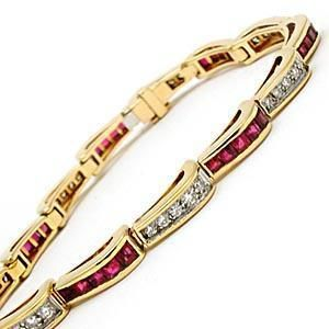 Estate Natural Ruby & Diamond Tennis Link Bracelet Solid 14K Gold Fine