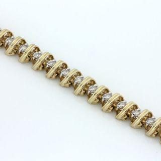 14k Yellow Gold Diamond s Link Tennis Bracelet 2 0 Ct