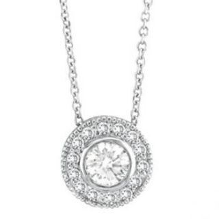 Set Round Cut Diamond Circle Pendant Necklace 14K White Gold Women