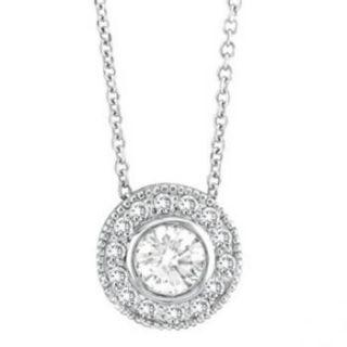 Set Round Cut Diamond Circle Pendant Necklace 14K White Gold Women