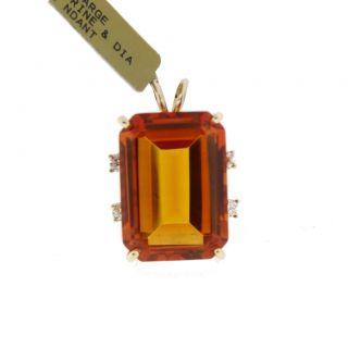 18kt Yellow Gold Large Citrine and Diamond Pendant