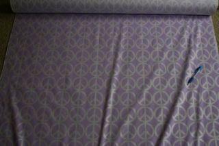 Lilac Purple Peace Sign Silver Glitter Fabric Material