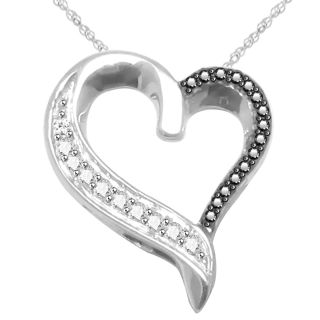 Black & White Natural Diamond Heart Pendant in Sterling Silver