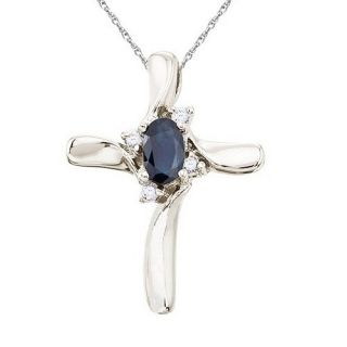 Blue Sapphire and Diamond Cross Necklace 14k White Gold