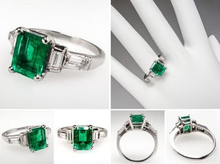 Natural Emerald Diamond Engagement Ring Solid Platinum Stunning Estate