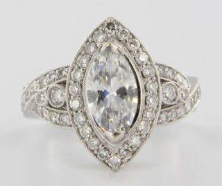 Estate 18k White Gold Diamond Semi Mount Engagement Wedding Cocktail