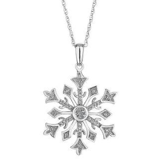 Sterling Silver Diamond Snowflake Pendant Necklace 1 10ctw