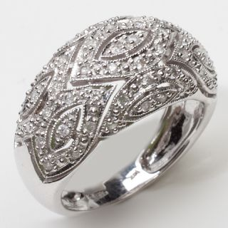 Estate 14k White Gold Pave Diamond Dome Cocktail Ring Fine Jewelry