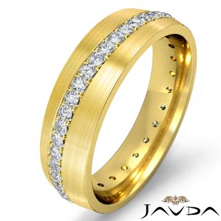 Pave Diamond Wedding Dome Band 14k Gold Yellow Mens Eternity Ring
