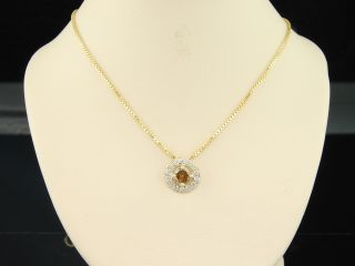 ladies yellow gold brown champagne diamond solitaire pendant charm for