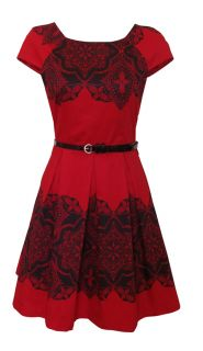 Red Black Lace Print 50s Style Day Dress Trista Size 14 New