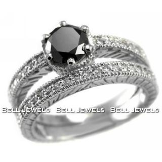 Matching 1 65ct Black Diamond Engagement Ring Wedding Set 14k White