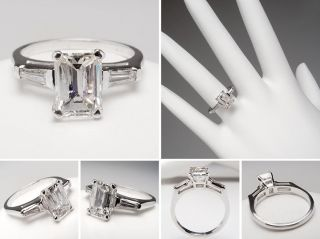 Carat Emerald Cut Diamond Engagement Ring w/ Tapered Baguette