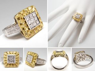 White & Fancy Yellow Diamond Ring Invisible Set Platinum & 18K Gold