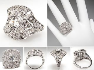 Antique Art Deco Diamond Cluster Ring Openwork Solid Platinum 1920s