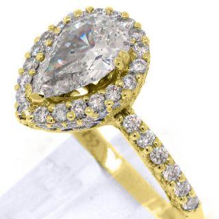 Carat Womens Diamond Engagement Wedding Ring Pear Shape Round Cut