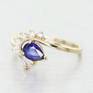 14k Yellow Gold Pear Shape Sapphire Diamond Cocktail Ring