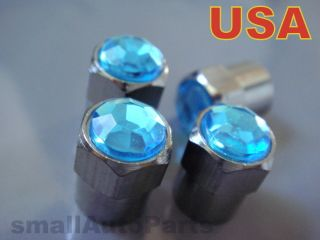 Crystal Blue Chrome Diamond Tire Wheel Stem Valve Caps