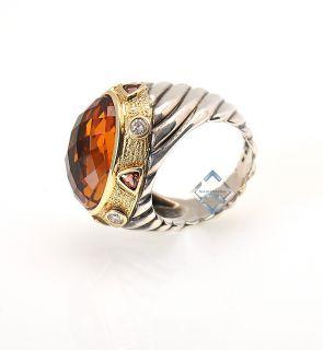 David YURMAN18K Yellow Gold Silver Citrine Diamond Ring