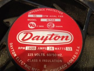 DAYTON 55 CFM AXIAL FAN MODEL #4C548 WITH POWER CORDS 115 VOLTS 16