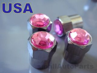 Crystal*PINK*Chrome*Diamond Tire/Wheel car air stem valve CAPS Covers