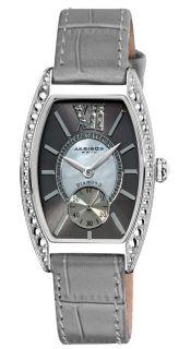 AK471GY Diamond Swiss Quartz Tourneau Grey Strap Womens Watch