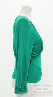 DVF Diane Von Furstenberg Green Jersey Belted Wrap Top Size S