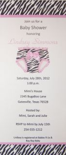 24 Zebra Diaper Baby Shower Invitations 4 x 9 Personalized w Satin Bow