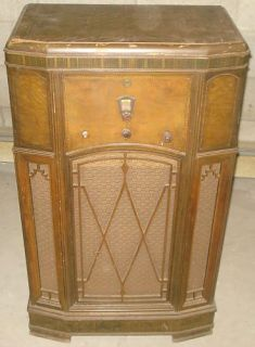 BH207 Antique Vtg de Forest Crosley Console Radio Tube Floor Model