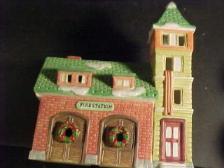 Dickens Fire House Porcelain Lighted House Holiday Expressions