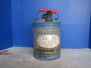 VINTAGE DELPHOS GALVANIZED GAS CAN WITH LABLE BLUE BANDS RED PLASTIC