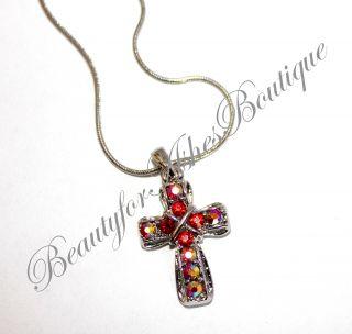 Girls Womens Small Prayer Christ Necklace Cross Ruby AB Crystal