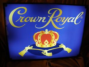 Crown Royal Liquor with Crown on The Blue Pillow Neon Light Box Sign