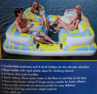 Intex Oasis Paradise Island Inflatable Raft Water Lounge Lake River