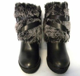 F385 Phat Farm Baby Phat Demaris Black Leather Faux Fur Boots Sz 9 M