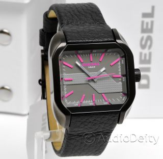 New Diesel Ladies Watch Black ion Plated Gray Pink White Dial