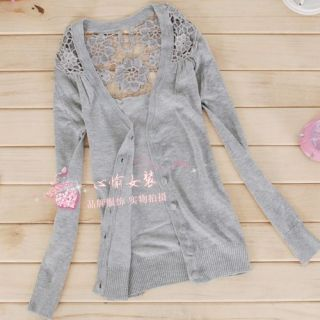 Korea Women Hollow Lace Knit Cardigan Top Outerwear X00