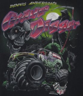 Dennis Andersons Grave Digger Monster Truck Mens T Shirt XL Black US