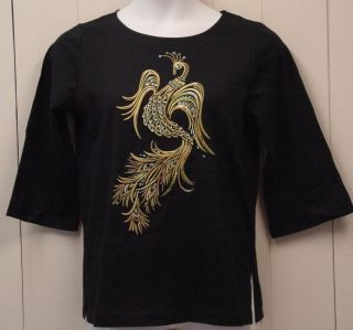 Bob Mackie Fantasy Peacock Embroidered Tee Size XL Black