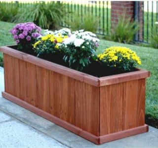 SOLID WOOD PLANTER BOX Flower Garden Rectangular12x40x12 Deck Patio