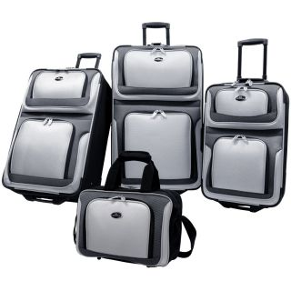 US Traveler New Yorker 4 Piece Luggage Set Expandable   Charcoal